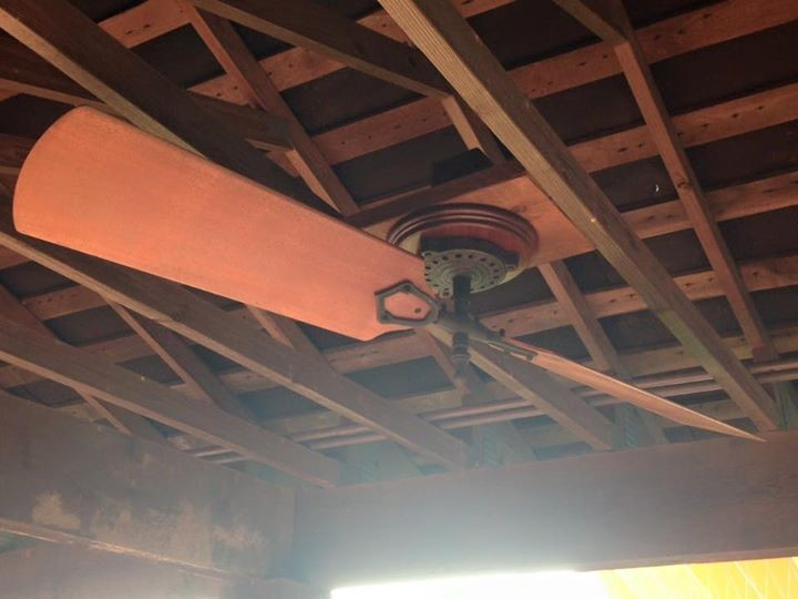 Shaft Driven Ceiling Fan : Decorative and simple motor mounts with pulley woolen